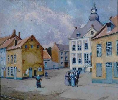 Paul Marie Bamps (1862-1932), Een bruiloftstoet verlaat het stadhuisplein, ca. 1890, gouache.