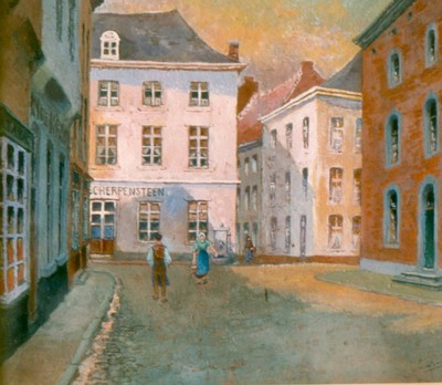 Paul Marie Bamps (1862-1932), De Scherpesteen, ca. 1890, gouache.