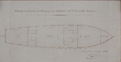 Ontwerp der binnenste verdeeling van eene trekschuit voor de Leuvensche Vaart