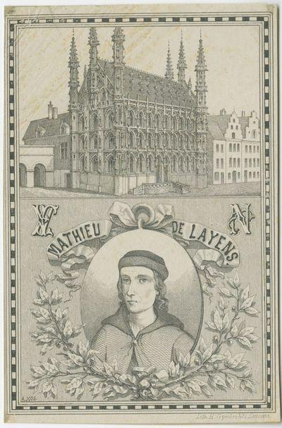 Het stadhuis van Leuven met een afbeelding van Mathieu de Layens