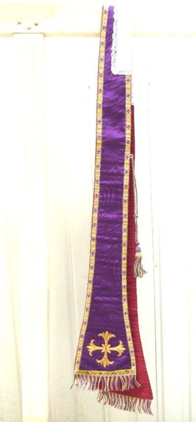 stola - ceremoniestola in paars met sierkruis en afboording
