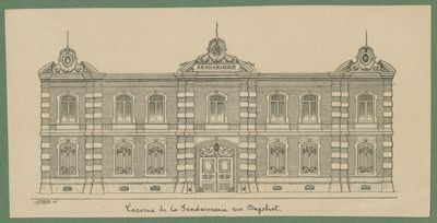 Gevel van de voormalige rijkswachtkazerne in de Dagobertstraat in Leuven