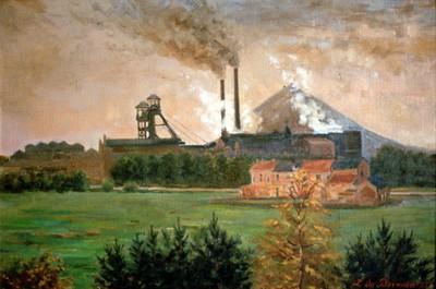 Lodewijk Marie De Borman (1879-1965), Kempisch landschap met kolenmijn, 1951, olie op doek.