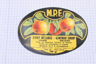 Ovaal etiket van Meekers om op strooppotten te plakken.