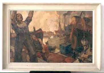 Lucien Nolens (1879-1954), Havenarbeiders, s.d., olie op doek.