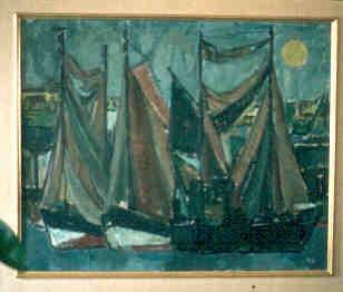 Paule Nolens (1924-2008), Zeilboten, 1956-1957, olie op doek.