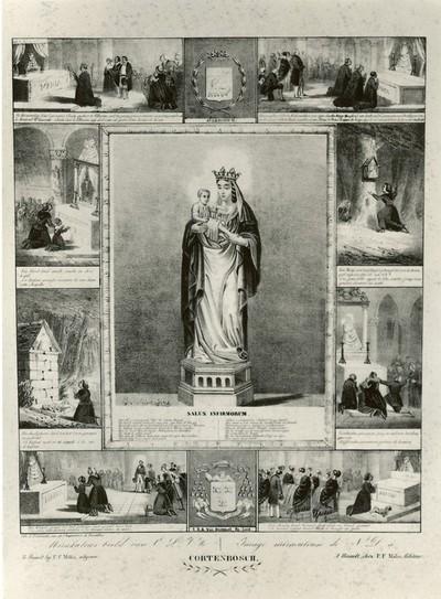 J. Schoonjans, lithograaf, P. Cremetti, drukker, Pieter Frederik Milis (1801-1865), Mirakelprent Onze-Lieve-Vrouw van 'Cortenbosch' (Kortenbos), 1848 (?), papier, lithografie.
