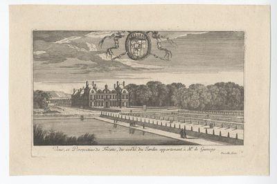 Zicht op het kasteel van Fresnes vanuit de tuin