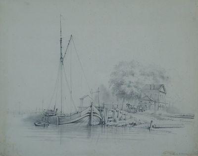 Aanliggende boot langs de Vaartdijk in Leuven