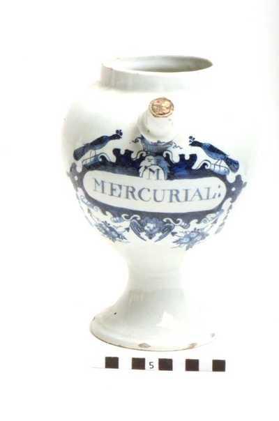 Delfts blauwe apothekerspot; M MERCURIAL: