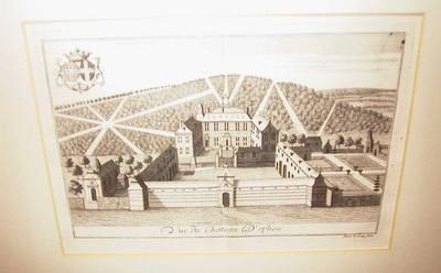 Remacle Le Loup (1694-1746), Vue du Chateau d' Opliew, ca. 1740, papier, kopergravure.