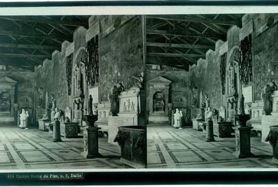 Anoniem, stereokaart met foto van de Camposanto in Pisa, s.d., glas.