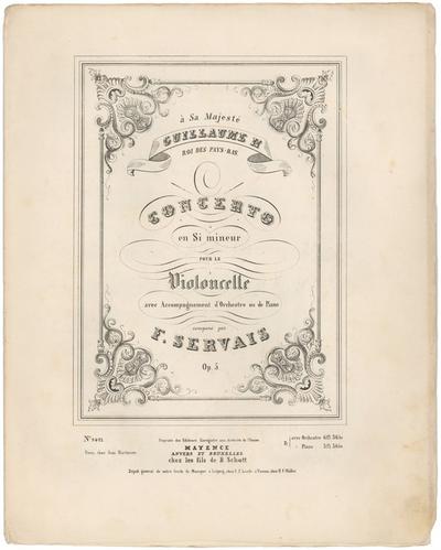 Servais, François. Concerto en Si mineur, opus 5 (Mainz, Schott, [1848])