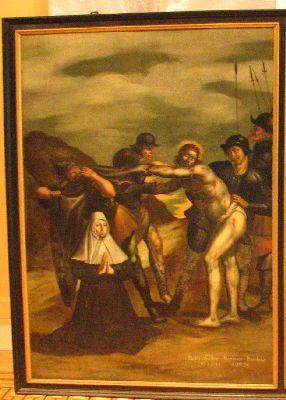 Jezus wordt van zijn kleren ontdaan, met schenkersportret van een kloosterzuster