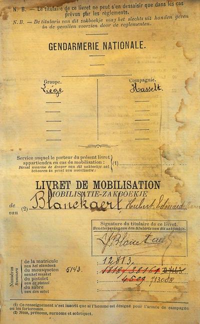 Mobilisatie-zakboekje Blanckaert Hubert