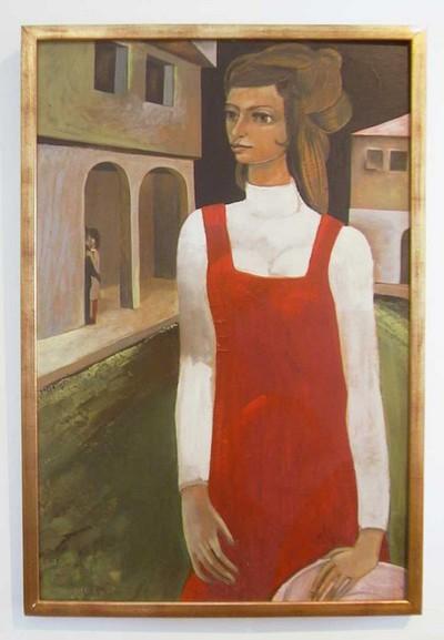 Amand Van Rompaye (°1928), Het Rode Kleed, 1969, olie op hout.