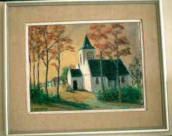 Eugeen Salaets, Landschap met kerk, s.d., olie op doek.
