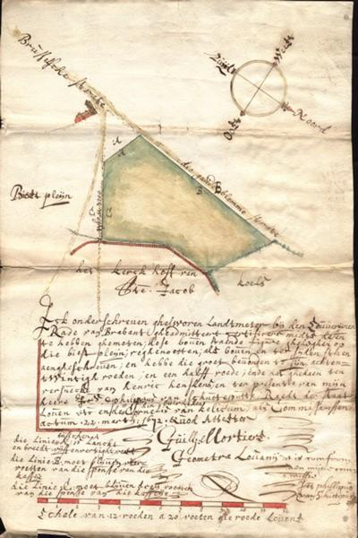 Landmeterkaart betreffende de aanleg van het Sint-Jacobsplein