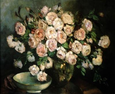 Marcelle Severy (1895-1987), Bloemstuk met rozen, s.d., olie op doek.