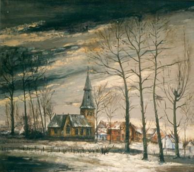 Emiel Strauven (1911-1995), Oude dorpskern van Kuringen, 1945, olie op doek.