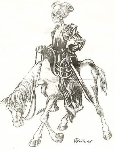 Eugène Winters, Kamiel Huysmans als Don Quichotte, s.d., papier, potlood- en pentekening.