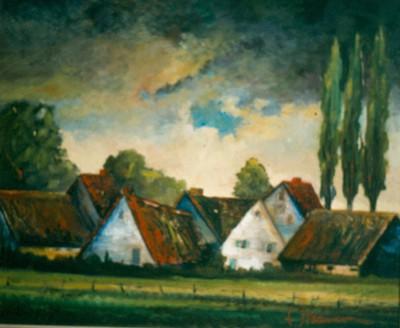 Emiel Strauven (1911-1995), Den Dries, 1948, olie op hout.