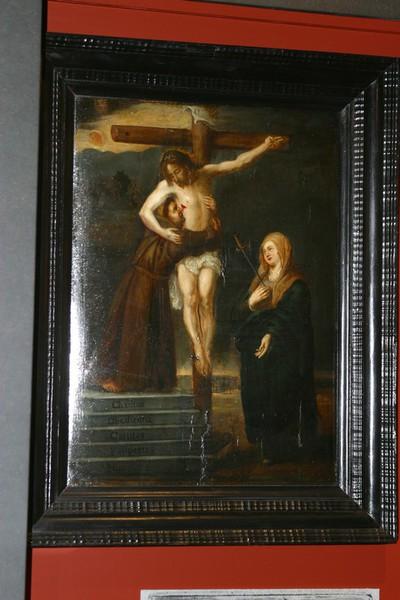 Heilige Franciscus van Assisi omarmt de gekruisigde