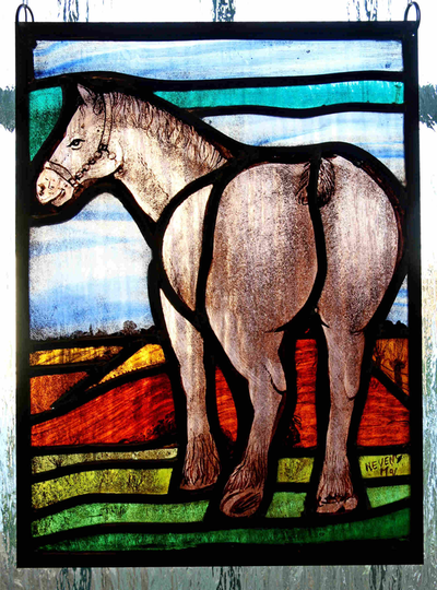 Glasraam van Maurits Nevens met afbeelding van een Belgisch trekpaard