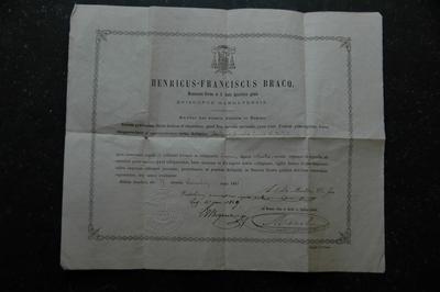 reliekcertificaat voor houtfragment van het heilige kruis W.M.J.C.