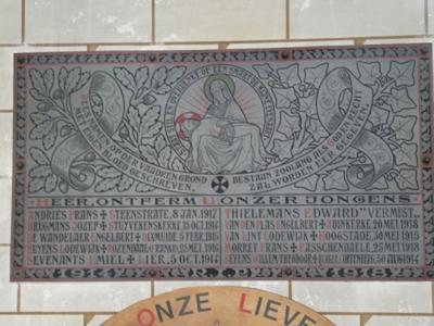 Gedenkplaat 1914-18
