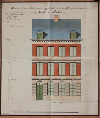 Elevation d'une nouvelle maison appartenante à Mr, Marchall, située dans la rue du canal à Louvain