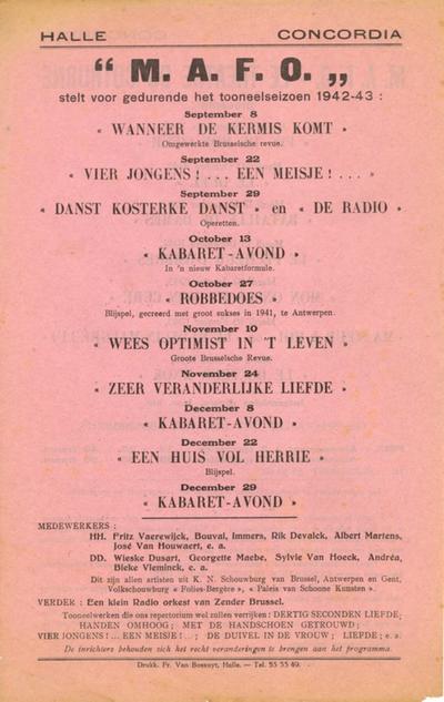 Sociaal leven (toneel) - Hal. Concordia. M.A.F.O.- Le Theatre du Cothurne