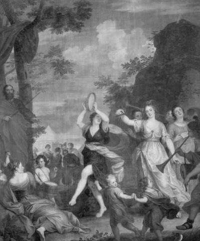 De Israëlieten vieren de doortocht door de Rode Zee