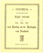 Menukaart blijde intrede Hertog en Hertogin van Brabant te Hasselt