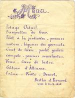 Menukaart huwelijk Bertha en Fernand