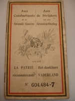 toelagenboekje voor soldaten 1ste W.O.