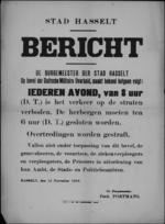Stad Hasselt, affiche van 12 november 1918 - elke avond uitgaansverbod vanaf 20 uur; herbergen sluiten om 18 uur.
