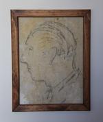 Potret van een man met podlood op binnenmuur