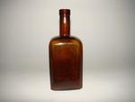 Vierkante bitterfles in bruin glas, ca. 1930-1950