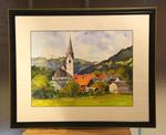 Berglandschap met dorpje en kerk