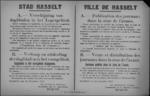 Stad Hasselt, affiche van 28 november 1918 - voorwaarden uitgeven dagbladen in Legergebied en verspreiden dagbladen, aanplakbrieven en brochures.