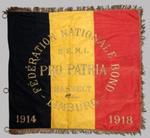 Belgische driekleur met opschriften