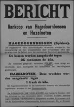 Affiche - aankoop haagdoornbessen en hazelnoten door fruitcentrale Brussel.