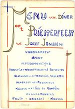 Menukaart priesterfeest Jozef Janssen