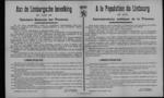 Hasselt, affiche van 22 november 1918 - roem aan wie land bevrijding dankt, gezag in handen Belgische overheid, wetten door vijand uitgevaardigd niet meer van kracht, ambtenaren in ambt hersteld, oproep orde te handhaven en werk te hervatten.