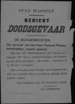 Stad Hasselt, affiche van 25 november 1919 - schietoefeningen op het plein 'Beverzak'.