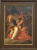 Schilderij kruisweg zevende statie