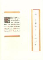 Menukaart huwelijk E. De Beukelaer - M. Michielsen (Felix Timmermans-Genootschap)