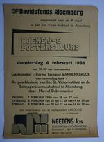 Affiche van de boeken- en posterbeurs van het Davidsfonds Alsemberg in 1986