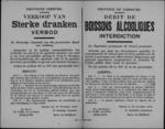 Hasselt, affiche van 19 november 1918 - verbod op verkoop en verbruik alcohol en sterke drank.